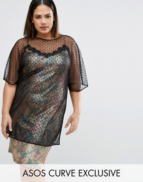 photo 90S Sequin Cami Dress With Lace Trim And Spot Mesh Overlayer by ASOS CURVE Premium, color  - Image 1