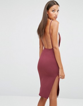 photo Backless Strappy Midi Dress by Missguided Tall, color Red - Image 2