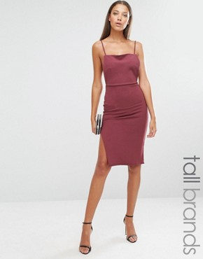 photo Backless Strappy Midi Dress by Missguided Tall, color Red - Image 1