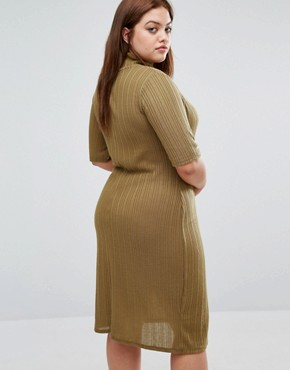 photo Funnel Neck Ribbed Bodycon Dress by Pink Clove, color Olive - Image 2