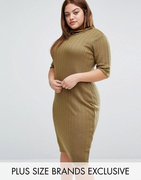 photo Funnel Neck Ribbed Bodycon Dress by Pink Clove, color Olive - Image 1