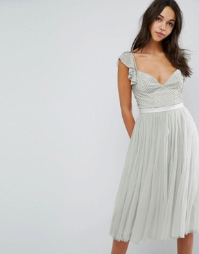 photo Swan Tulle Midi Dress with Frill Sleeve by Needle & Thread, color Spearmint - Image 1