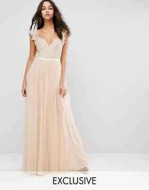 d6607433c35 Swan Tulle Maxi Dress with Frill Sleeve by Needle   Thread - Petal Pink