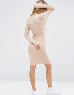 photo Mini Bodycon Dress in Rib with Long Sleeves by ASOS, color Nude - Image 2