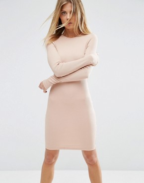 photo Mini Bodycon Dress in Rib with Long Sleeves by ASOS, color Nude - Image 1