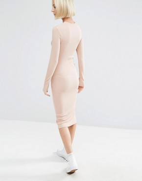 photo Midi Bodycon Dress in Rib with Long Sleeves by ASOS, color Nude - Image 2