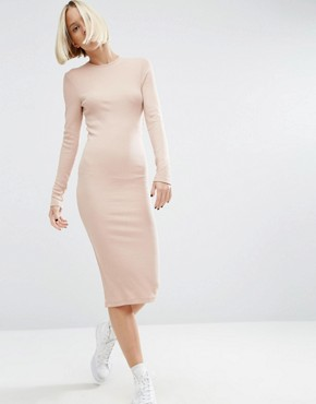 photo Midi Bodycon Dress in Rib with Long Sleeves by ASOS, color Nude - Image 1