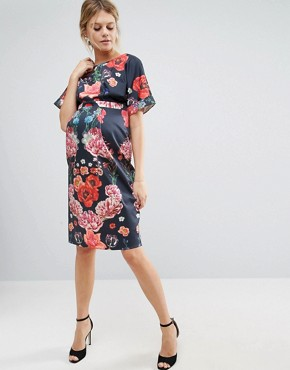 photo Smart Pencil Dress with Placement Print by ASOS Maternity, color Blue Base Floral - Image 2