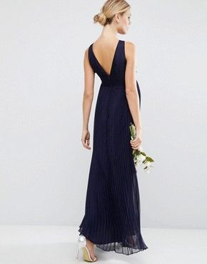 photo Pleated Maxi Dress with Ruched Detail by ASOS Maternity WEDDING, color Navy - Image 2