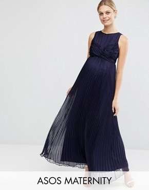 photo Pleated Maxi Dress with Ruched Detail by ASOS Maternity WEDDING, color Navy - Image 1