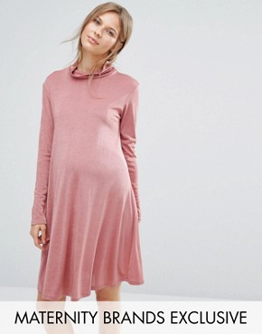 photo High Neck Slinky Swing Dress by Bluebelle Maternity, color Rose - Image 1