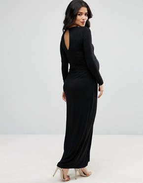 photo Wrap Maxi Dress with Cut Out Neck by ASOS Maternity, color Black - Image 2