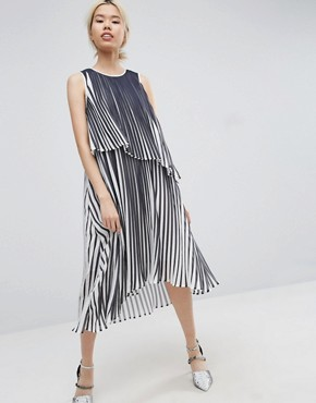photo Midi Dress With Layered Pleat by ASOS WHITE, color  - Image 1