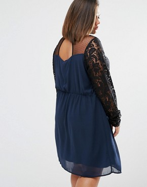 photo Tiva Dress with Lace Top by Junarose Plus, color Navy - Image 2