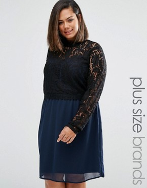 photo Tiva Dress with Lace Top by Junarose Plus, color Navy - Image 1