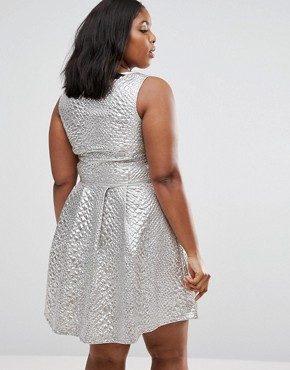 photo Daimy Skater Dress In Metallic Fabric by Junarose Plus, color Silver - Image 2