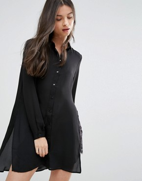 photo Shirt Dress with Slits and Keyhole Back by Vero Moda Petite, color Black - Image 2