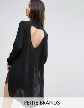 photo Shirt Dress with Slits and Keyhole Back by Vero Moda Petite, color Black - Image 1