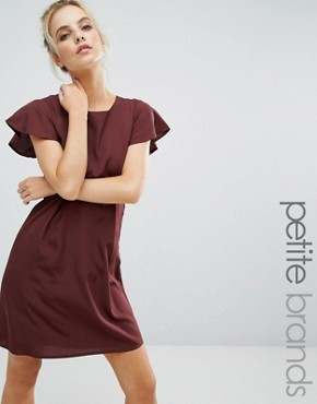 photo Emma Dress with Ruffle Sleeves by Vero Moda Petite, color Decadent Chocolate - Image 1