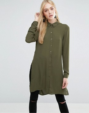 photo Shirt Dress with Slits and Keyhole Back by Vero Moda Tall, color Ivory Green - Image 2