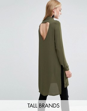 photo Shirt Dress with Slits and Keyhole Back by Vero Moda Tall, color Ivory Green - Image 1