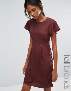 photo Emma Dress with Ruffle Sleeves by Vero Moda Tall, color Decadent Chocolate - Image 1
