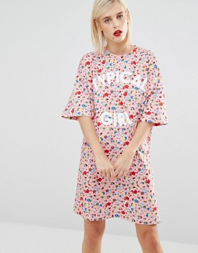 photo Typical Girl Floral T-shirt Dress by Love Moschino, color Pink - Image 1