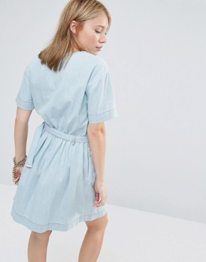 photo Belted Denim Dress by Love Moschino, color Blue - Image 2