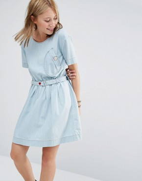 photo Belted Denim Dress by Love Moschino, color Blue - Image 1