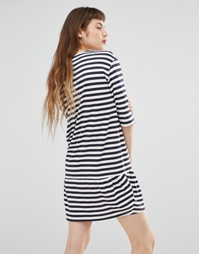 photo Striped Embroidered Logo Dress by Love Moschino, color Blue - Image 2