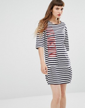 photo Striped Embroidered Logo Dress by Love Moschino, color Blue - Image 1