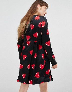 photo All Over Heart Print Long Sleeve Dress by Love Moschino, color White - Image 2