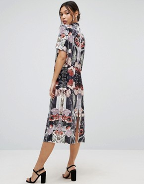 photo Velvet Printed Shift Dress by ASOS, color Silver - Image 2