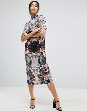 photo Velvet Printed Shift Dress by ASOS, color Silver - Image 1
