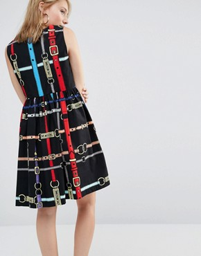 photo All Over Belt Print Skater Dress by Love Moschino, color Black - Image 2