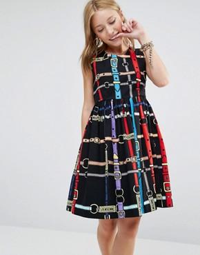 photo All Over Belt Print Skater Dress by Love Moschino, color Black - Image 1