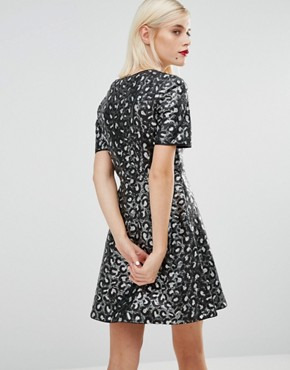 photo Sequin Leopard Skater Dress by Love Moschino, color Black - Image 2