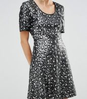 photo Sequin Leopard Skater Dress by Love Moschino, color Black - Image 3