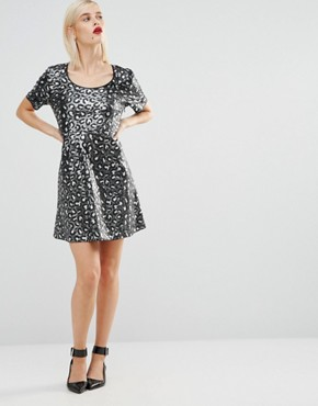 photo Sequin Leopard Skater Dress by Love Moschino, color Black - Image 4