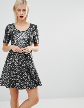 photo Sequin Leopard Skater Dress by Love Moschino, color Black - Image 1