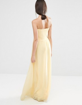 photo Ruched Bodie Bandeau Maxi Bridesmaid Dress by Vila, color Pale Yellow - Image 2