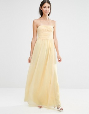 photo Ruched Bodie Bandeau Maxi Bridesmaid Dress by Vila, color Pale Yellow - Image 1