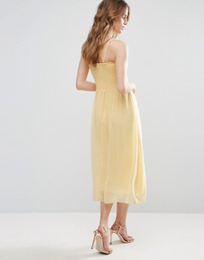 photo Bandeau Midi Bridesmaid Dress by Vila, color Pale Yellow - Image 2