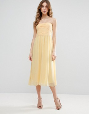 photo Bandeau Midi Bridesmaid Dress by Vila, color Pale Yellow - Image 1