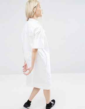 photo Shirt Dress with Cross Neck Detail by ASOS WHITE, color White - Image 2