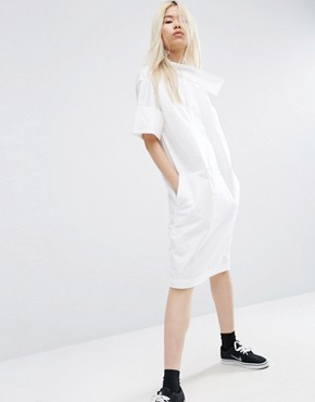 photo Shirt Dress with Cross Neck Detail by ASOS WHITE, color White - Image 1