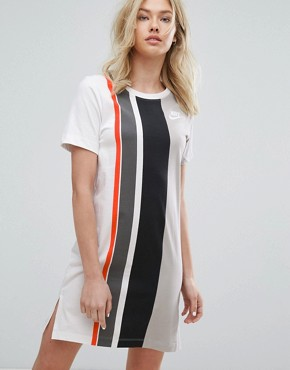 photo Striped T-Shirt Dress by Nike, color Grey - Image 1