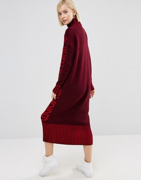 photo Jumper Dress in Maxi Shape by ASOS VOIDED, color Berry - Image 2