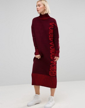 photo Jumper Dress in Maxi Shape by ASOS VOIDED, color Berry - Image 1