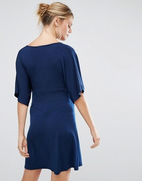 photo Swing Dress with Kimono Sleeve by Queen Bee, color Navy - Image 2